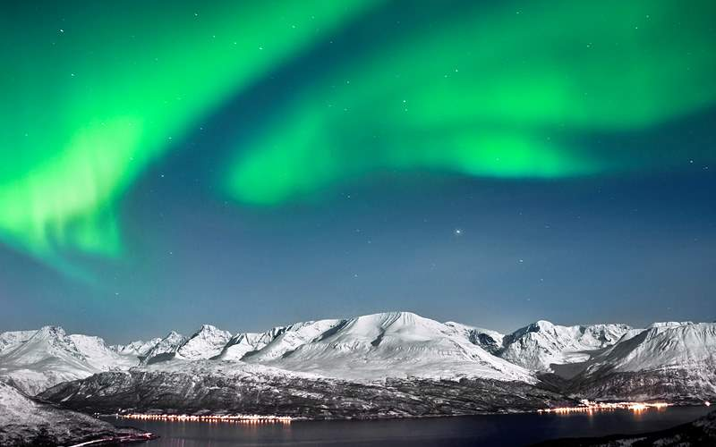 Aurora above Fjords Norway Oceania Cruise Europe
