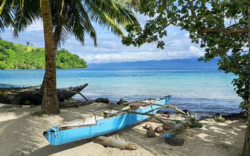 Polynesian outrigger in Fiji Oceania Cruises