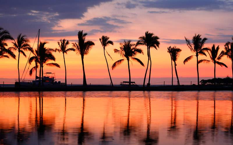 Paradise Beach sunset at Big Island Hawaii USA