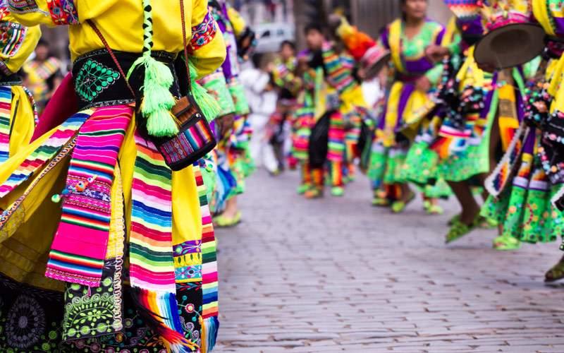 Peruvian dancers at the parade in Cusco Peru