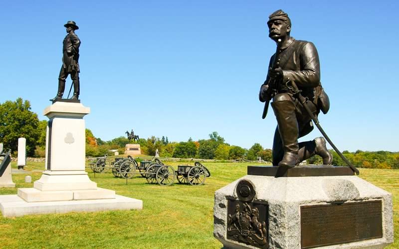 A Civil War battlefield in Gettysburg