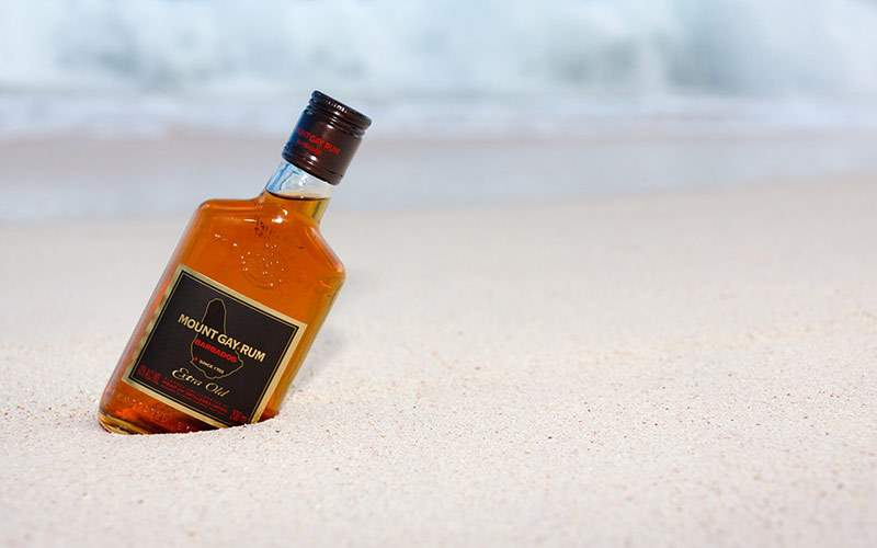 Barbados Rum on the beach