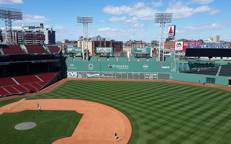 Iconic Green Monster at Fenway Park