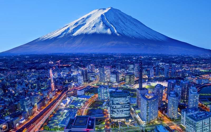 Skyline of Mt. Fuji and Yokohama Japan