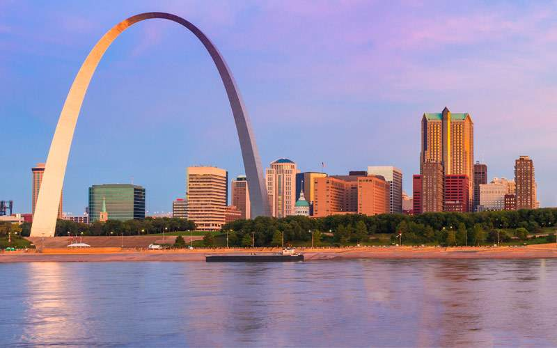 St. Louis Arch and skyline at the Mississippi Rive