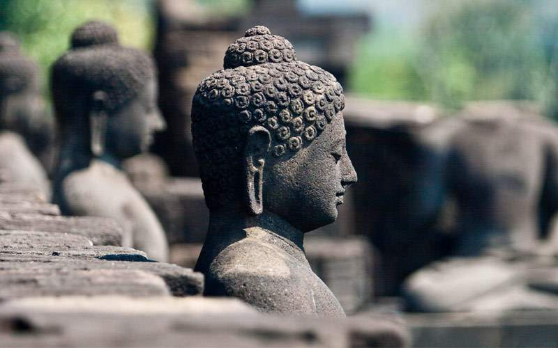 Stoned image of Buddha in Borobudur Indonesia