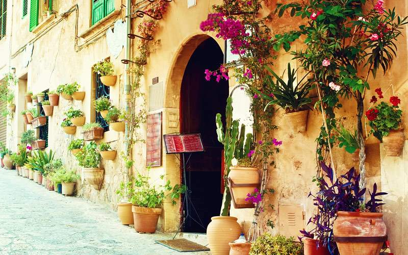 Street in Valldemossa Village in Mallorca Spain
