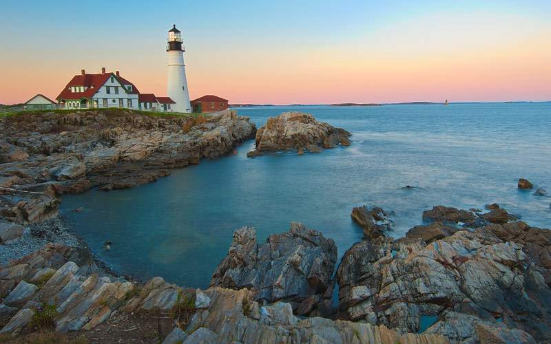 Sunset at the iconic Portland Head Light Maine