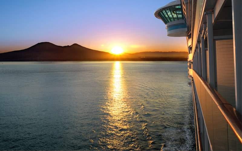 Sunset from private balcony on transatlantic crui