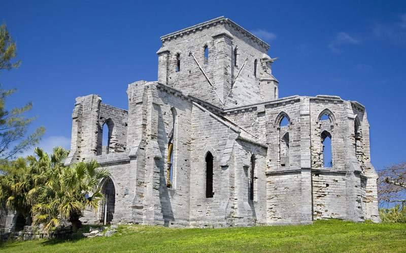The Gothic style Unfinished Church in St. Georges