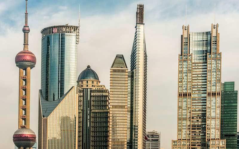 Pudong skyline Shanghai China Unworld River Cruise