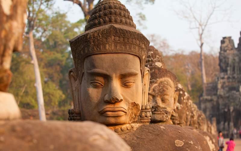 Statues in Angkor Thom, Cambodia Uniworld Asia