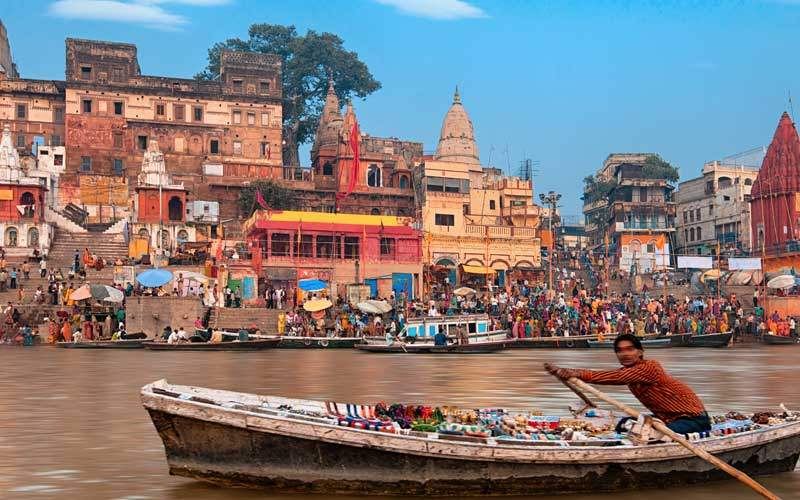 A view of holy ghats of Varanasi India