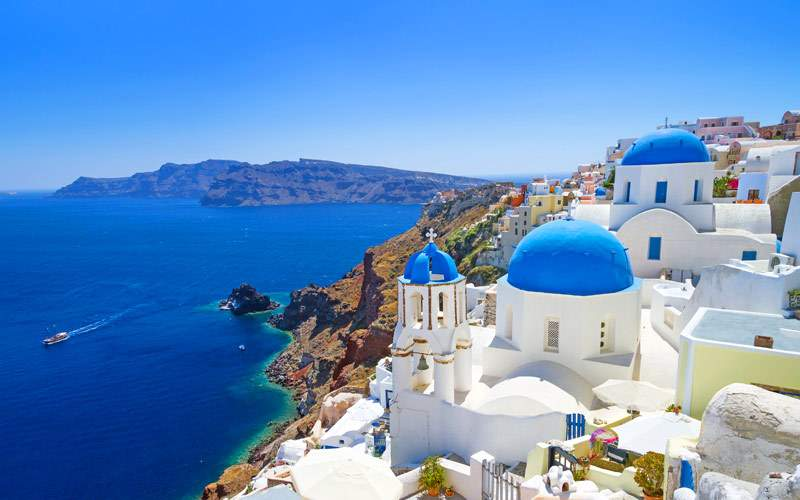 White architecture of Oia Village on Santorini Isl