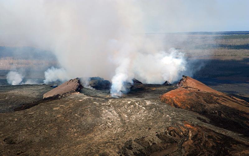Aerial view Kilauea Volcano Hawaii Royal Caribbean