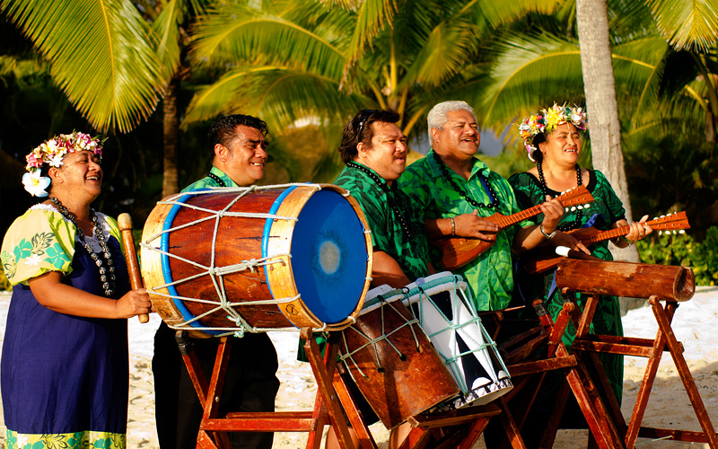 Polynesian band with drums ukeleles Hawaii Royal