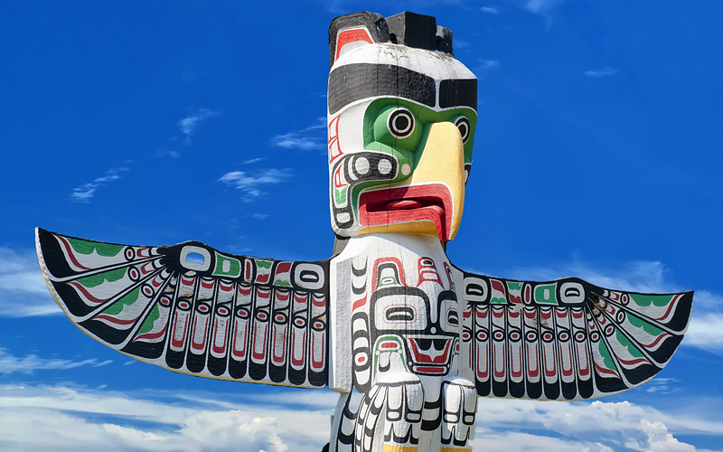 A totem wood pole in Alaska