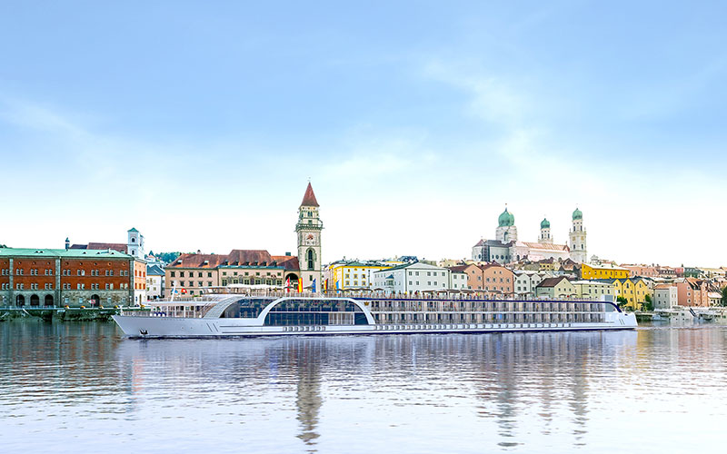 The AmaMagna sailing through Passau