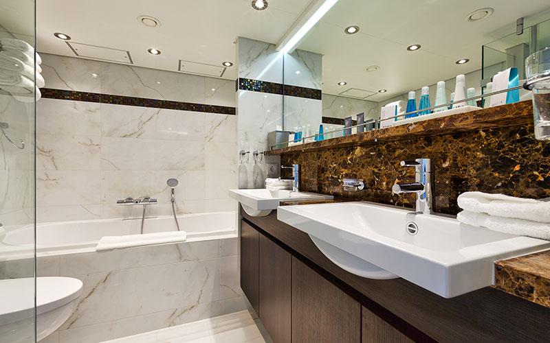 Suite bathroom onboard the AmaSerena