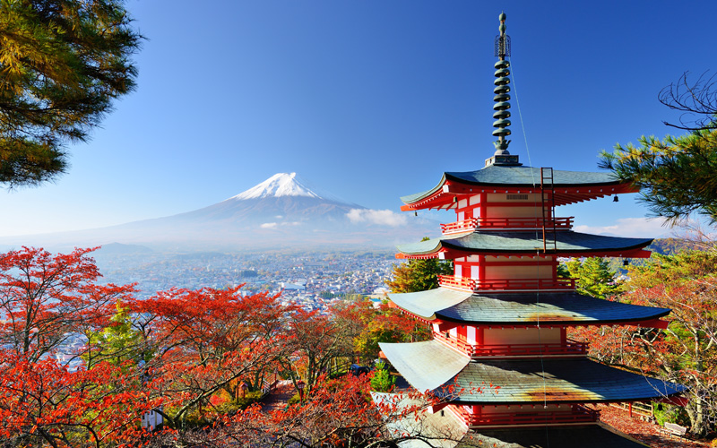 Mt. Fuji with fall colors, Japan