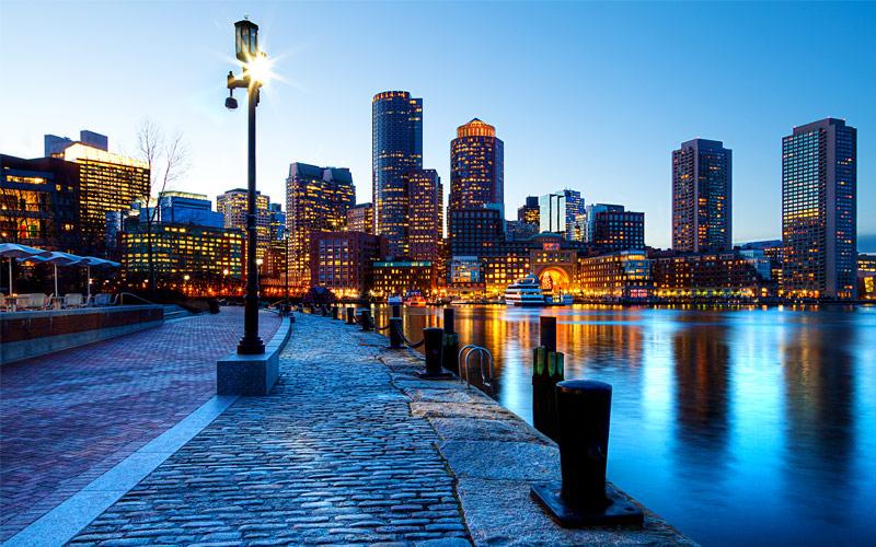 Boston Harbor and Financial district in Boston MA