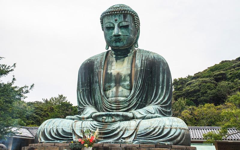Buddha Daibutsu Kotoku in Temple Tokyo Japan