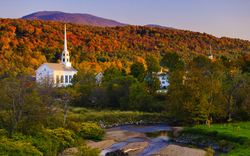 Fall Foliage and the Stowe Church, Stowe, Vermont