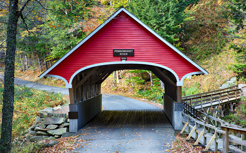 Beautiful red covered bridge in New Hampshire