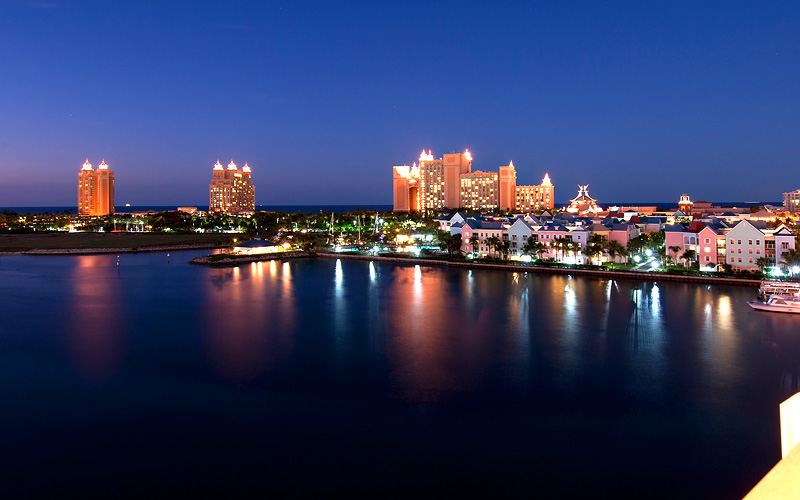 Atlantis Resort at night Carnival Cruises Bahamas