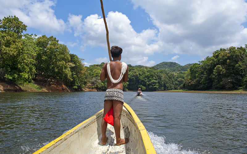 Embera Indian on a boat Carnival Cruises Pamana
