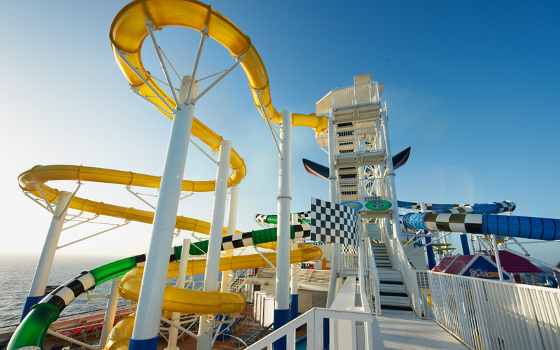 Get adrenaline pumping by racing down waterslides
