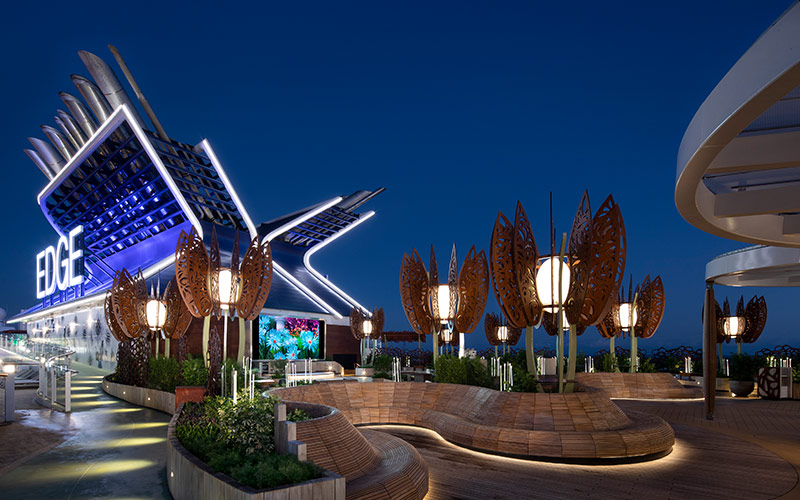 The Rooftop Garden at night on Celebrity Edge