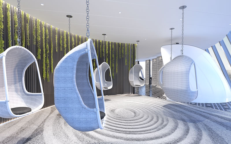Zen Garden Hanging Chairs on Celebrity Edge
