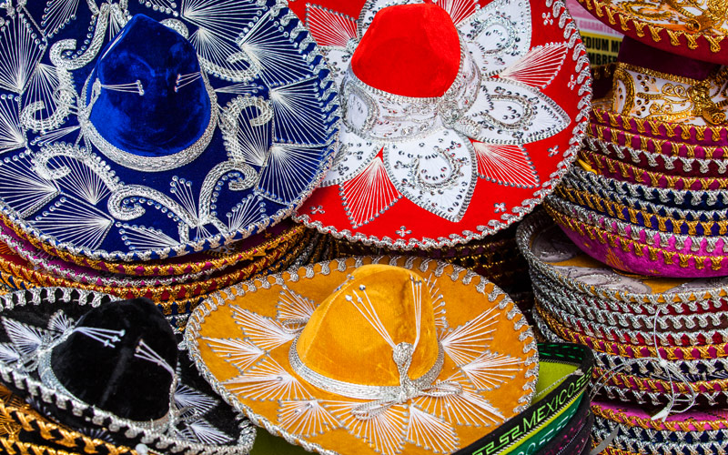 Colorful Mexican sombrero souvenirs in Yucatan
