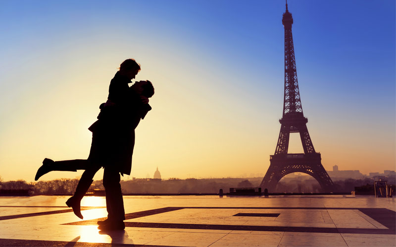 Couple with Eiffel Tower Paris France
