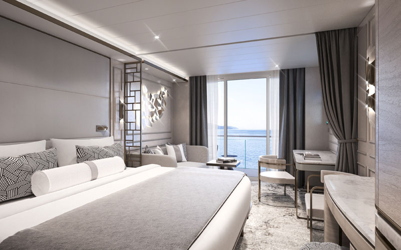 Deluxe Suite Bedroom aboard Crystal Endeavor