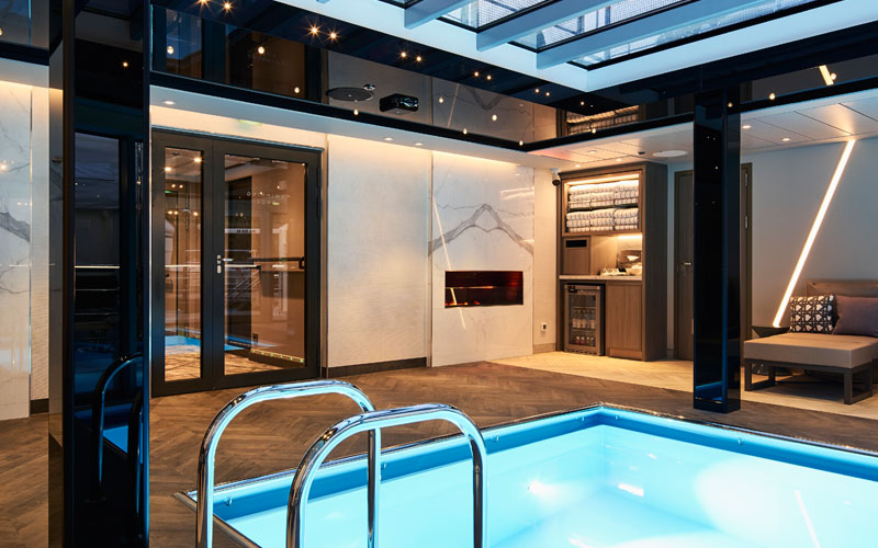 Indoor pool onboard Crystal Mahler