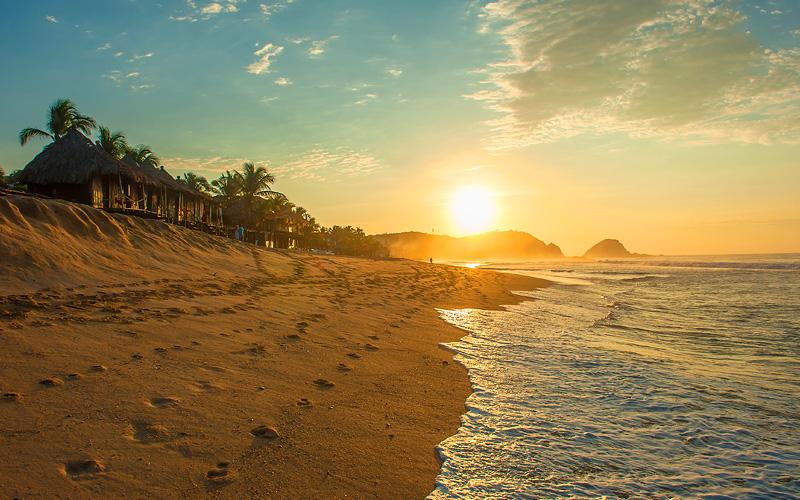 Zipolite beach Mexico Cunard Line Panama Canal