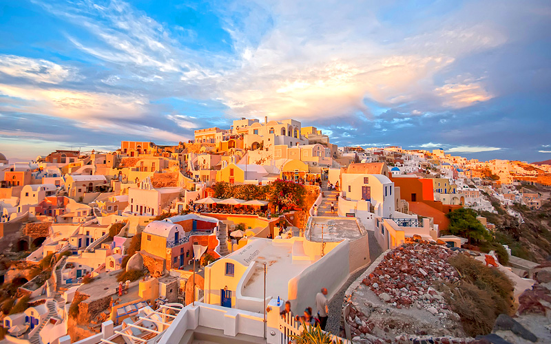 Santorini Greece Cunard Line Mediterranean