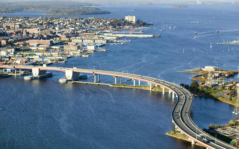 Downtown Portland Maine and the Casco Bay Bridge