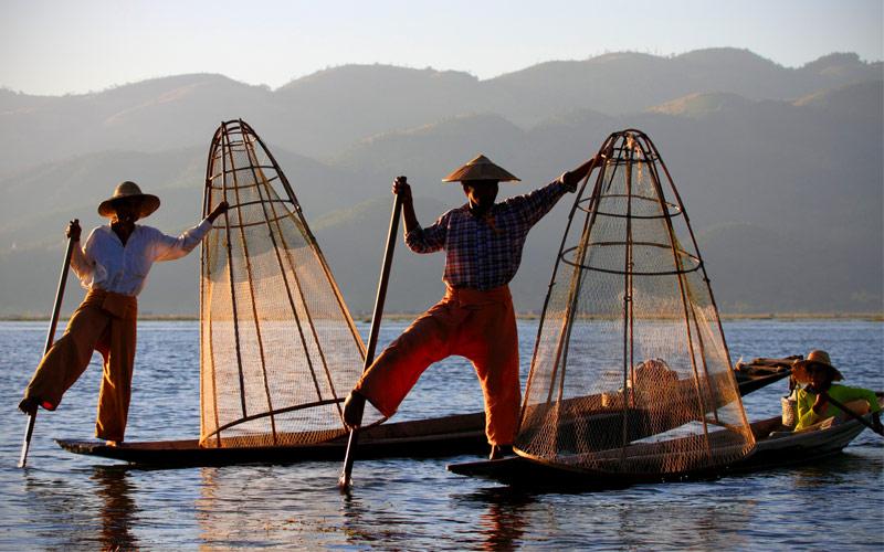 Fishermen at Inle Lake Shan State Myanmar