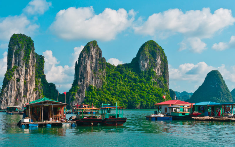 Floating fishing village Halong Bay Vietnam