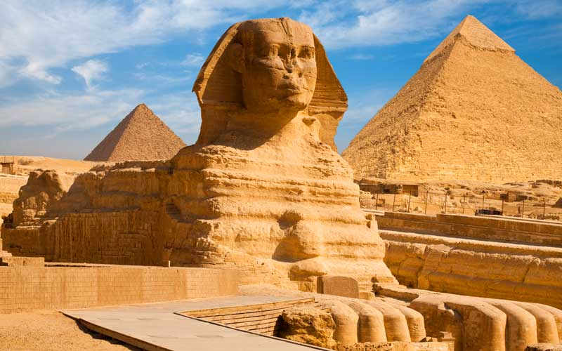 Great Sphinx and Pyramids in Egypt