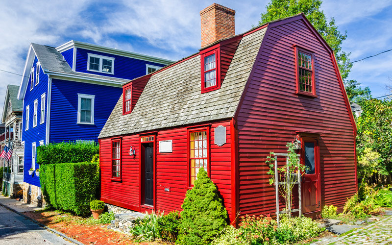 Historic colorful wooden house in Newport RI