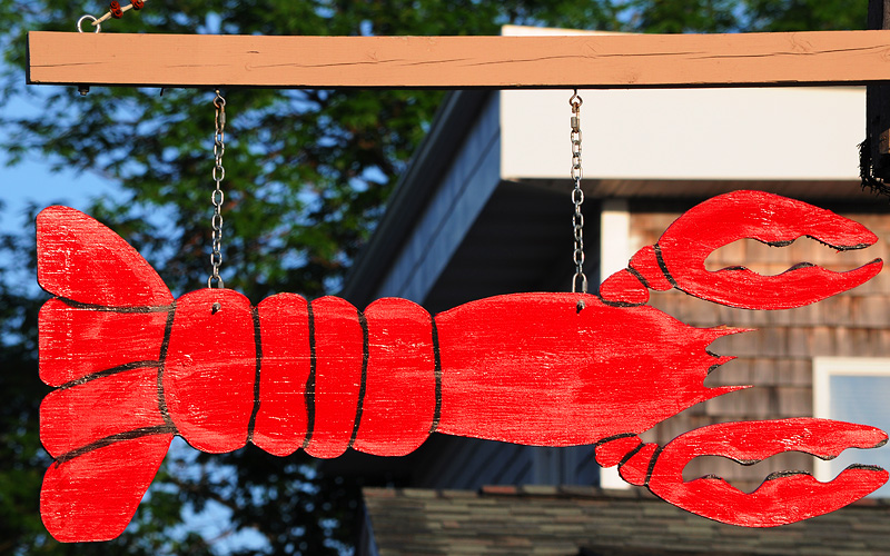 lobster sign in Bar Harbor Maine Holland America