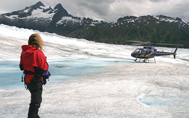 Helicopter over Glaciers Holland America Line