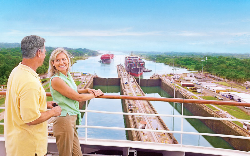 Looking at the Gatun Locks of the Panama Canal