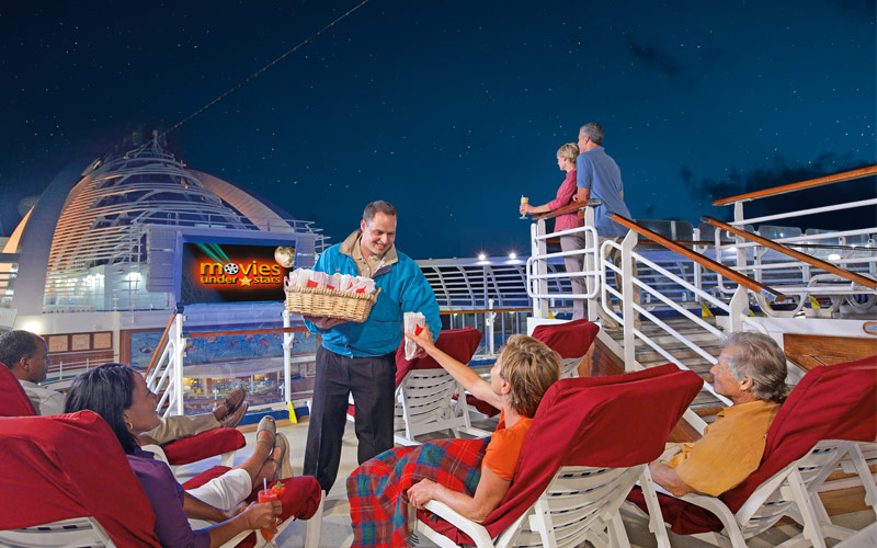 Guests enjoy movies at sea