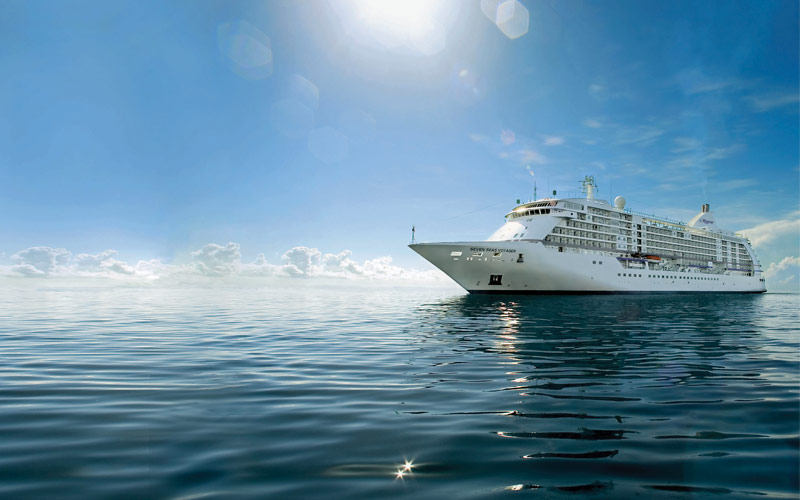 Seven Seas Voyager in the open ocean