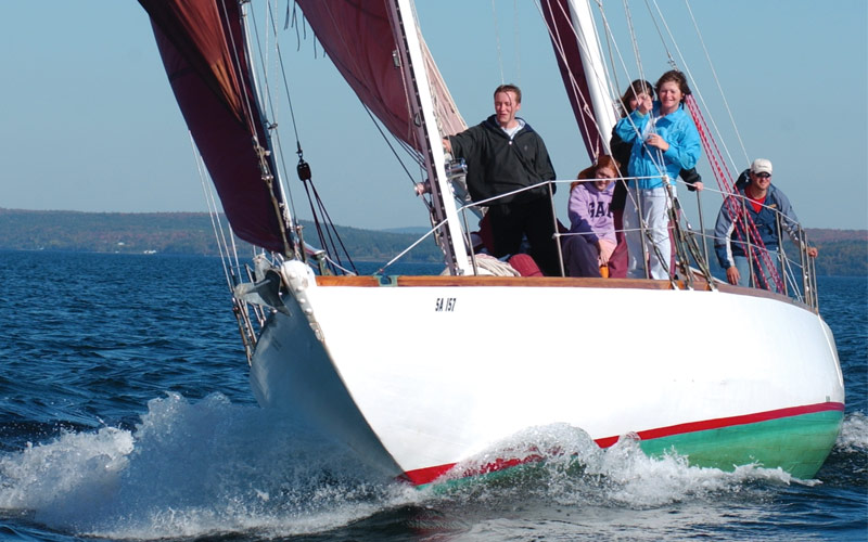 Family sailing in Nova Scotia, Canada